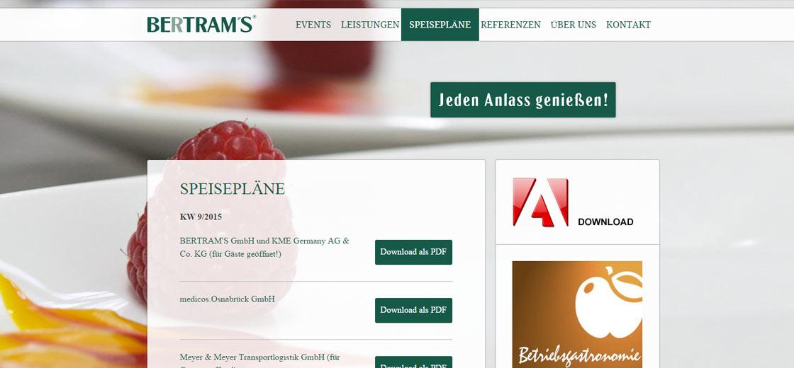 Webseite Bertrams